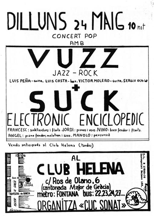 Cartel del Club Helena 24-5-76 (Cortesia de Xavi Cot)