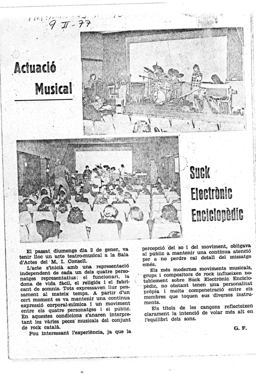 Crítica en prensa andorrana 9-2-77