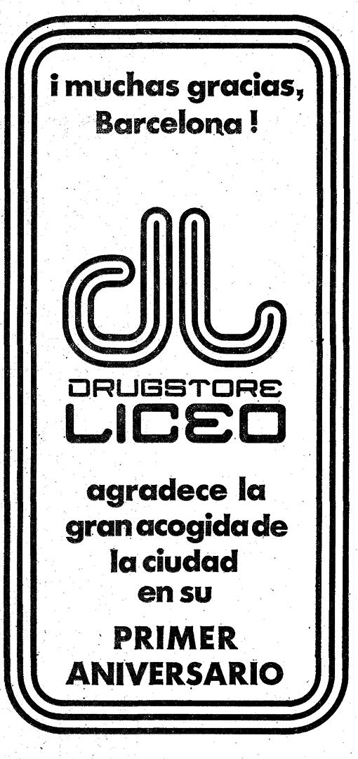 anagrama drugstore del Liceo 1r aniversari, DOMINGO, 16 SEPTIEMBRE 1973