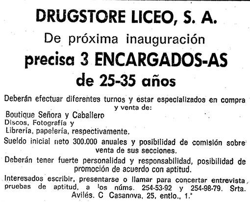 La Vanguardia_Drugstore del Liceu_DOMINGO, 28 DE MAYO DE 1972