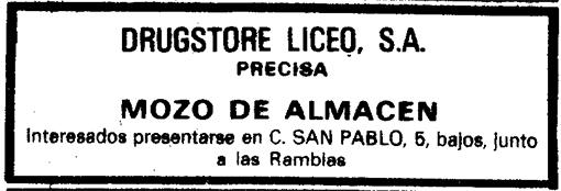 Mozo de Almacen, drugstore del LIceo