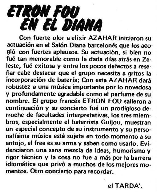 Reseña de Etron Fou&co en el Diana por J. tardà (Disco Express)