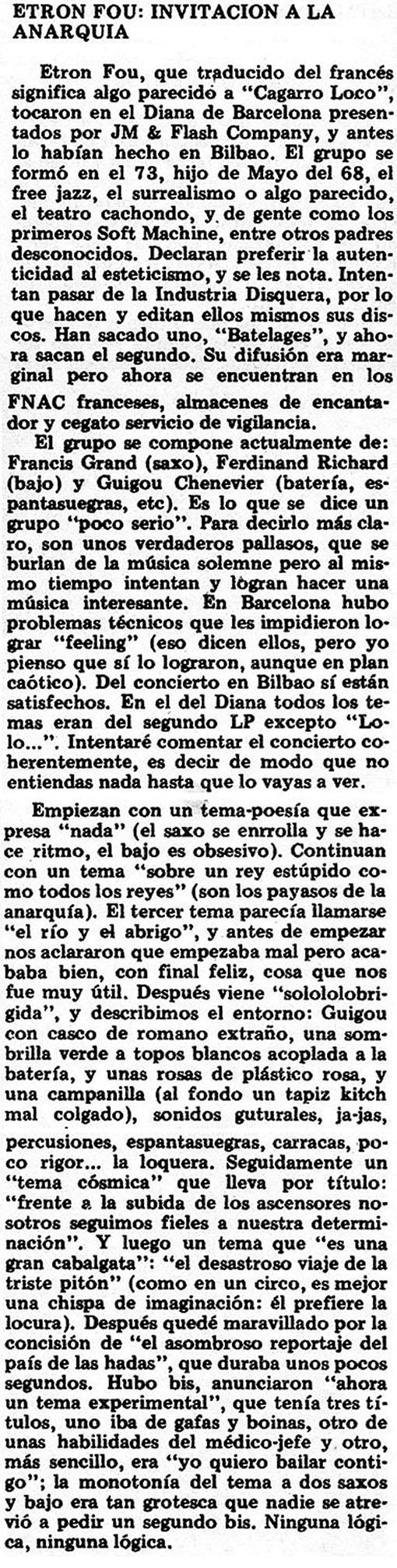 Reseña Etron Fou en Star (1978)