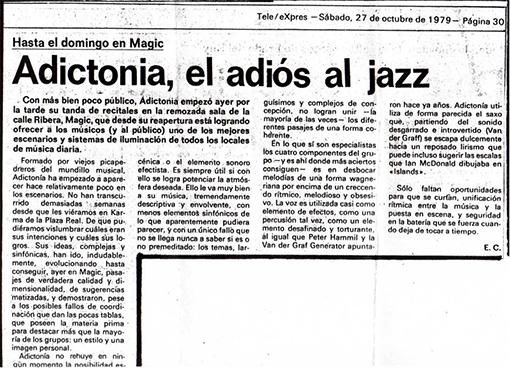 Adictonía, Teleexpres (27 octubre 1979)